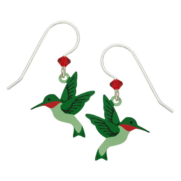 red and green hummingbird earrings
