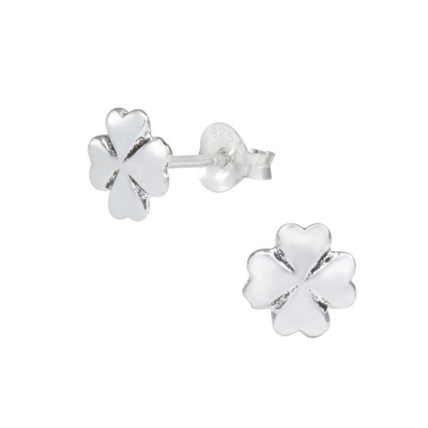 4 leaf clover sterling silver post earrings