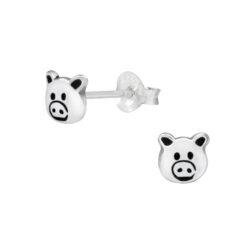 Pig Sterling Silver Stud Earrings