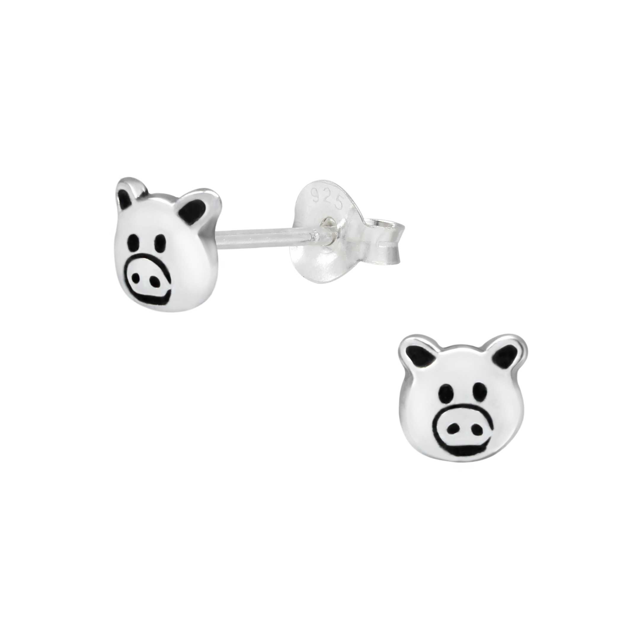 Pig Sterling Silver Stud Earrings
