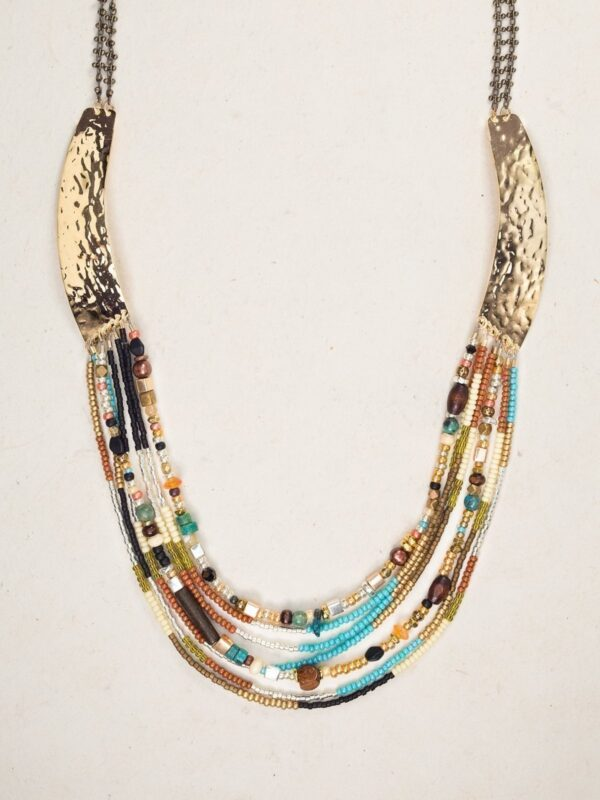 turquoise, red aventurine, wood, and Bohemian glass beaded necklace by Holly Yashi
