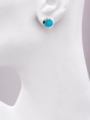 Holy Yashi blue circle stud earrings