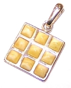 Square butterscotch amber pendant