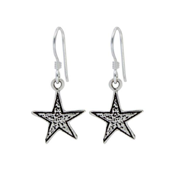 Star sterling silver dangle earrings