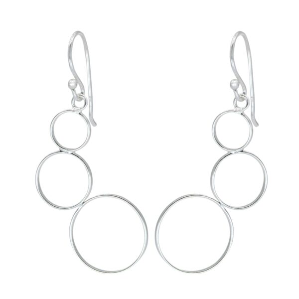 triple circle sterling silver dangle earrings