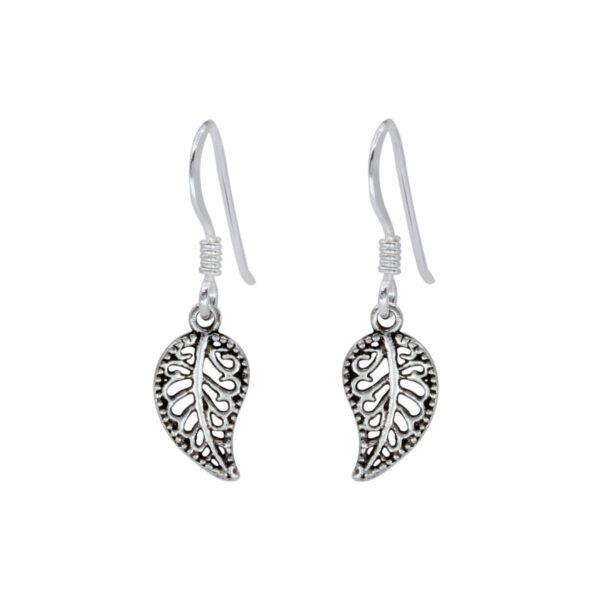 sterling silver petite leaf dangle earrings