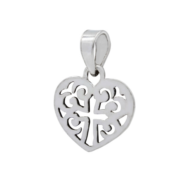 cross in filigree heart sterling silver pendant