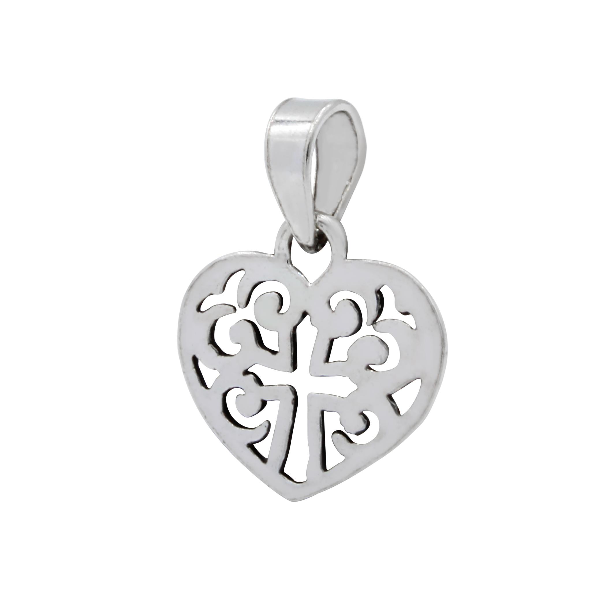 cross in filigree heart sterling silver pendant