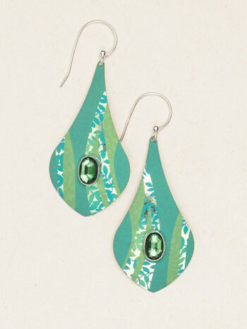 green large leaf patterned earrings by Holly Yashi