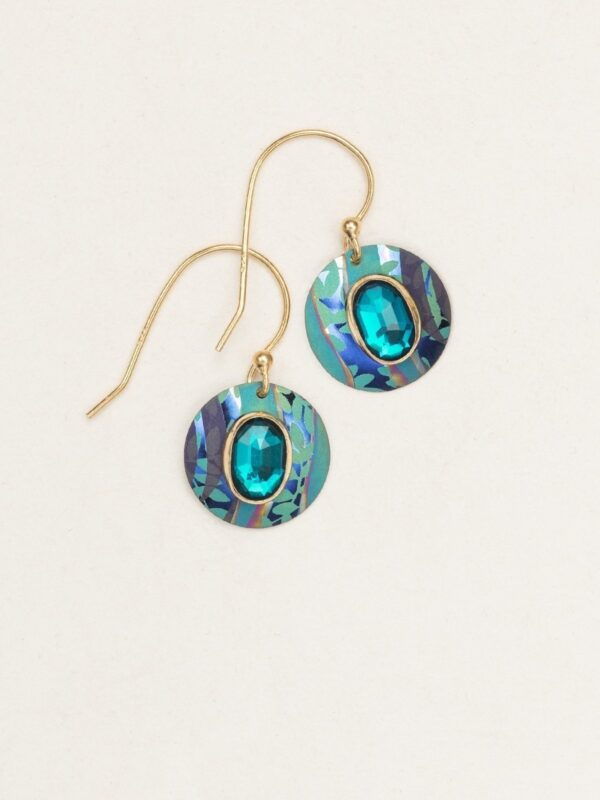 Faceted teal glass and multicolor niobium earrings by Holly Yashi