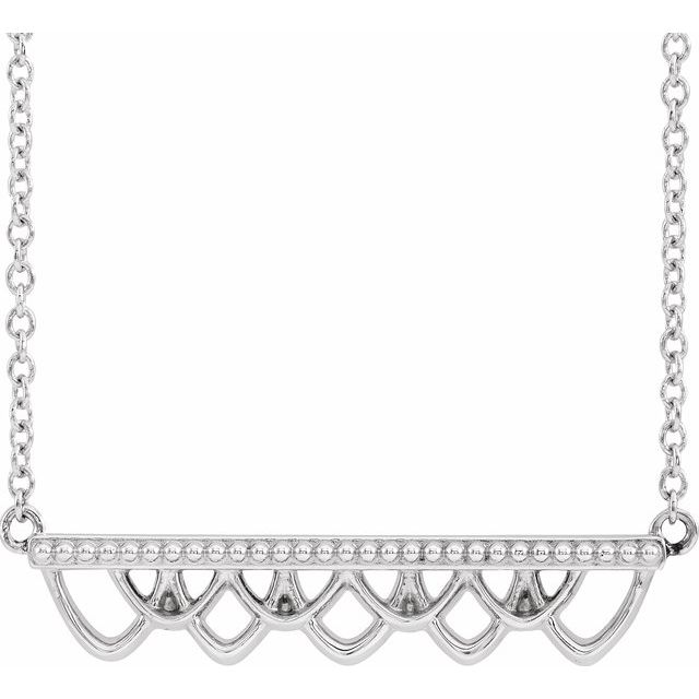 14k white gold Dainty filigree bar necklace