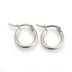small stainless steel 2 MM wide tube hoop earrings
