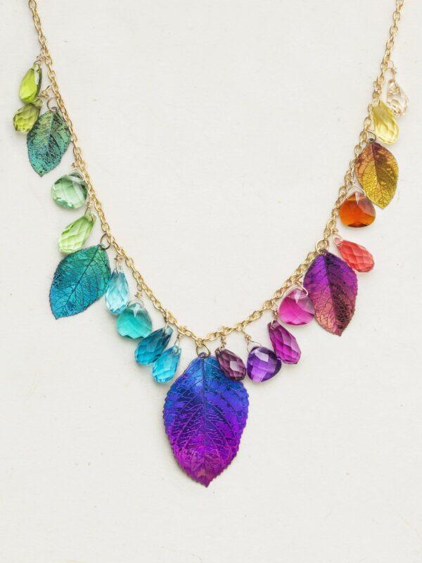Rainbow Dancing Elm Leaf Necklace
