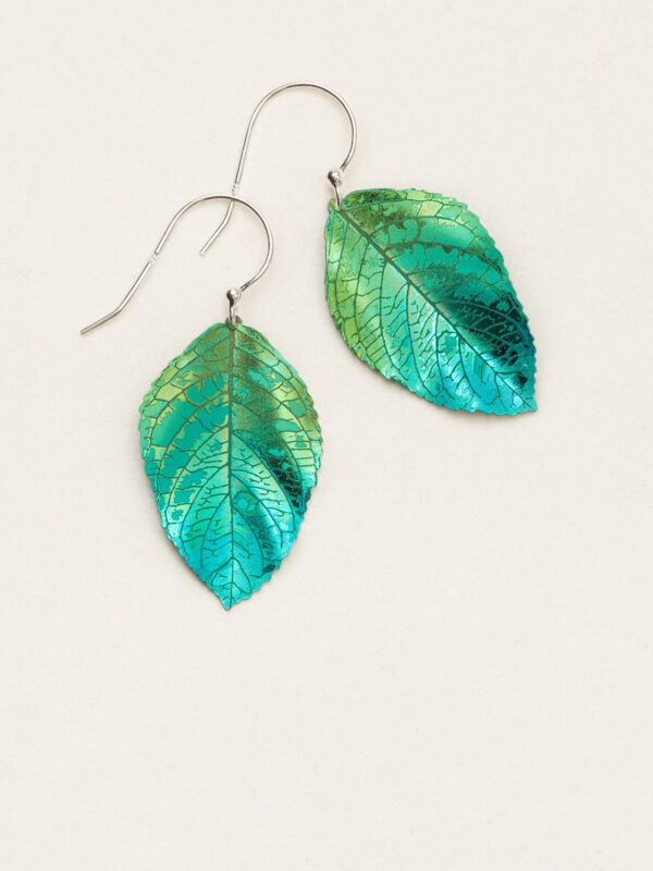 green and blue elm leaf earrings by Holly Yashi