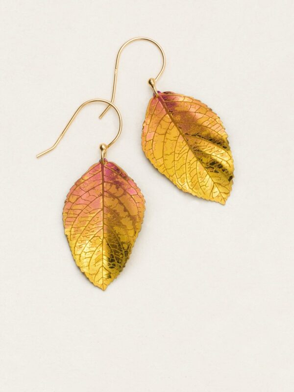 pink and goldtone elm leaf earrings by jewelry designer Holly Yashi