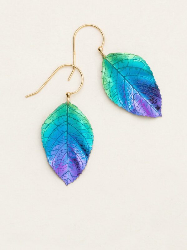 Green, blue, and purple elm leaf earrings by jewelry designer Holly Yashi