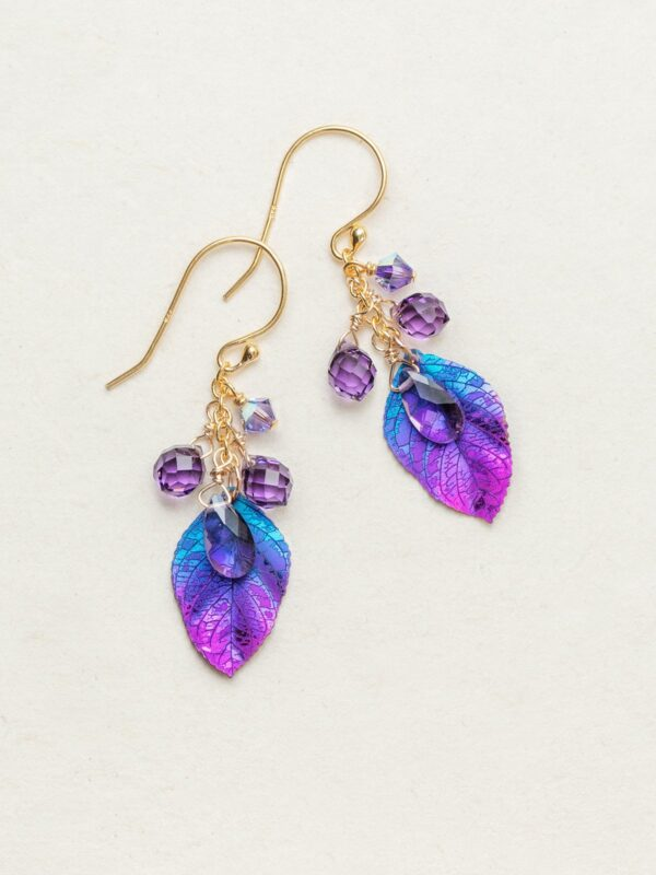 purple and blue petite cascading elm earrings from Holly Yashi