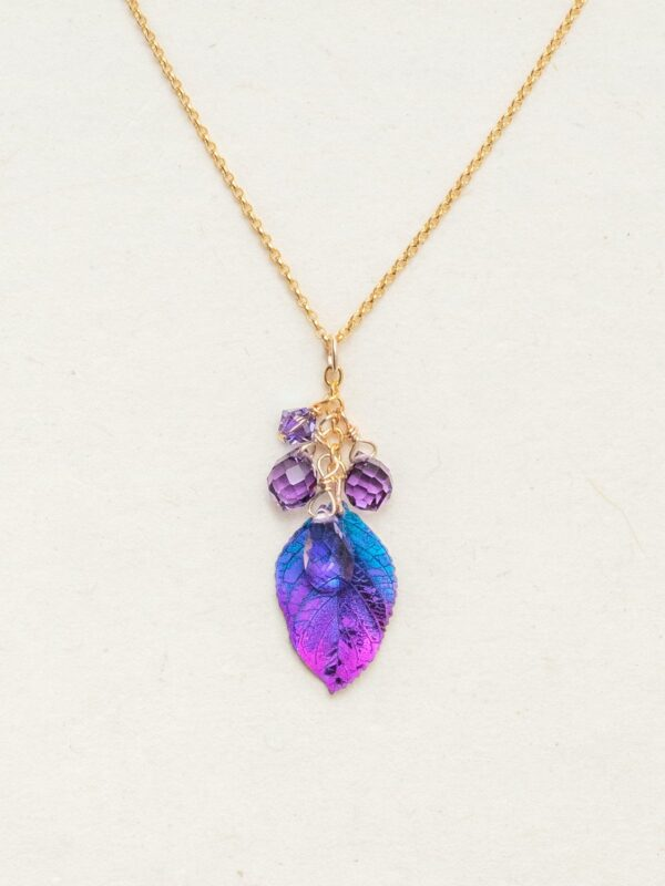 Petite Cascading Elm Leaf Necklace by Holly Yashi in blue and purple