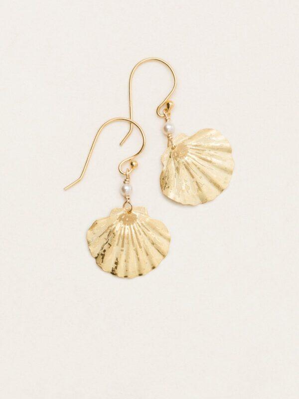 goldtone Shelby sea shell earrings by Holly Yashi