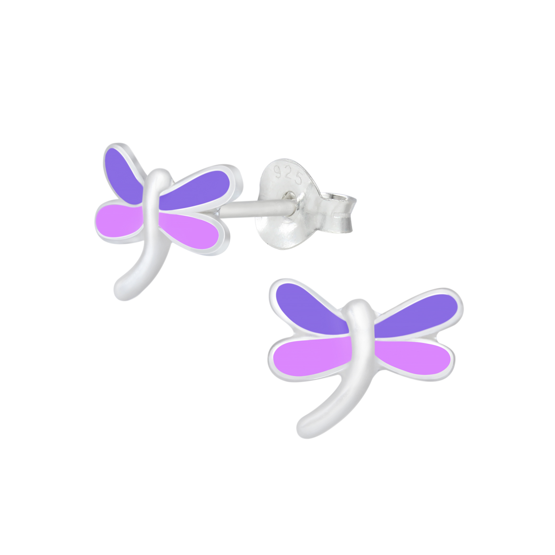 purple and pink dragonfly post earrings