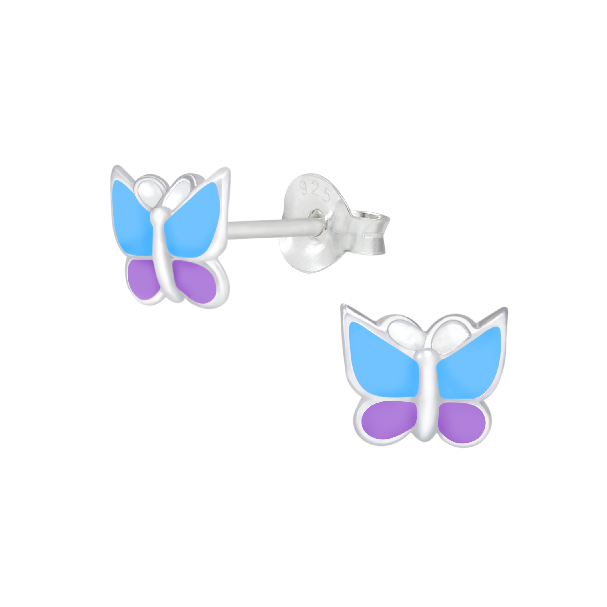 blue and purple enamel sterling silver butterfly earrings