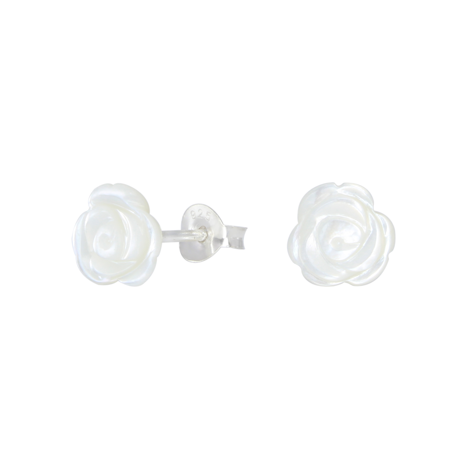 white mother of pearl shell carved rose sterling silver post earrings