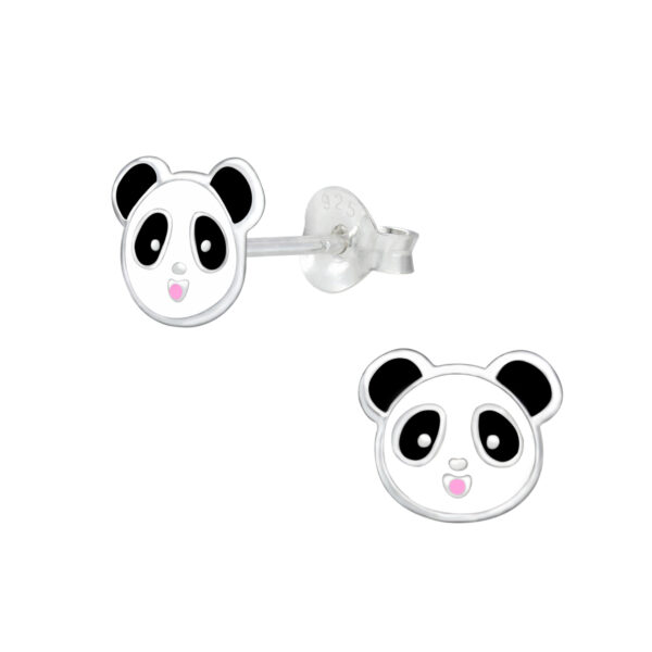 black and white panda post earrings