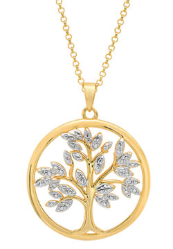 tree of life 18K gold-plated sterling silver necklace with diamond accent