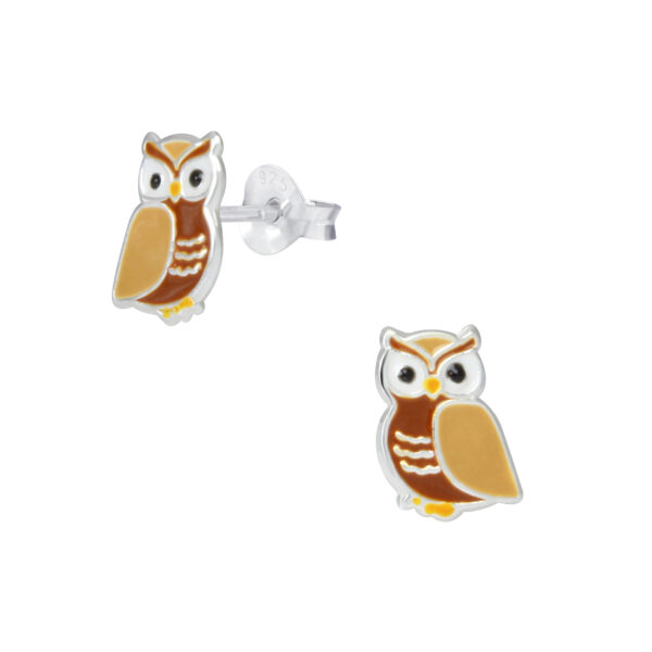 brown owl sterling silver post earrings