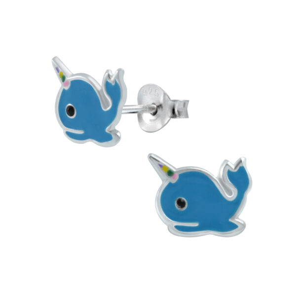 blue enamel narwhal and sterling silver post earrings