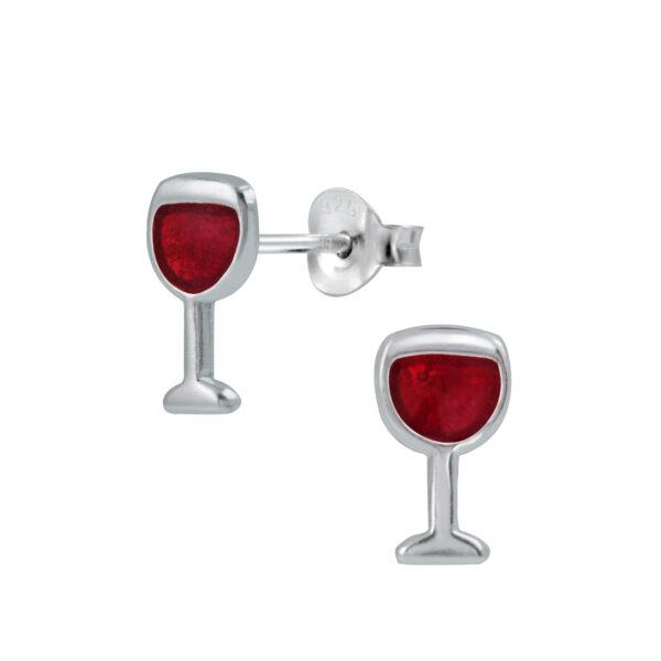 red wine glass post earrings