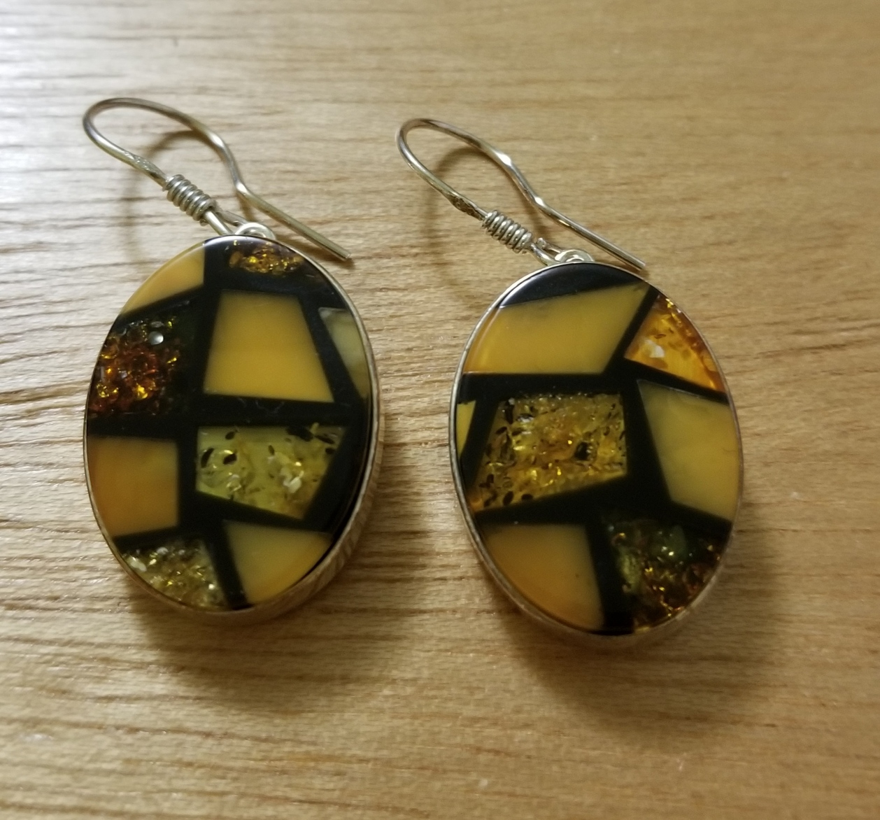Multi color Baltic amber earrings