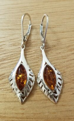 Honey brown Baltic amber sterling silver dangle earrings
