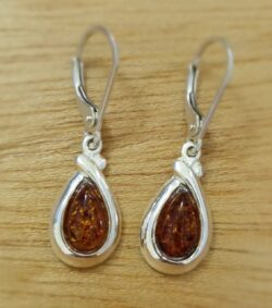 honey brown Baltic amber sterling silver drop earrings
