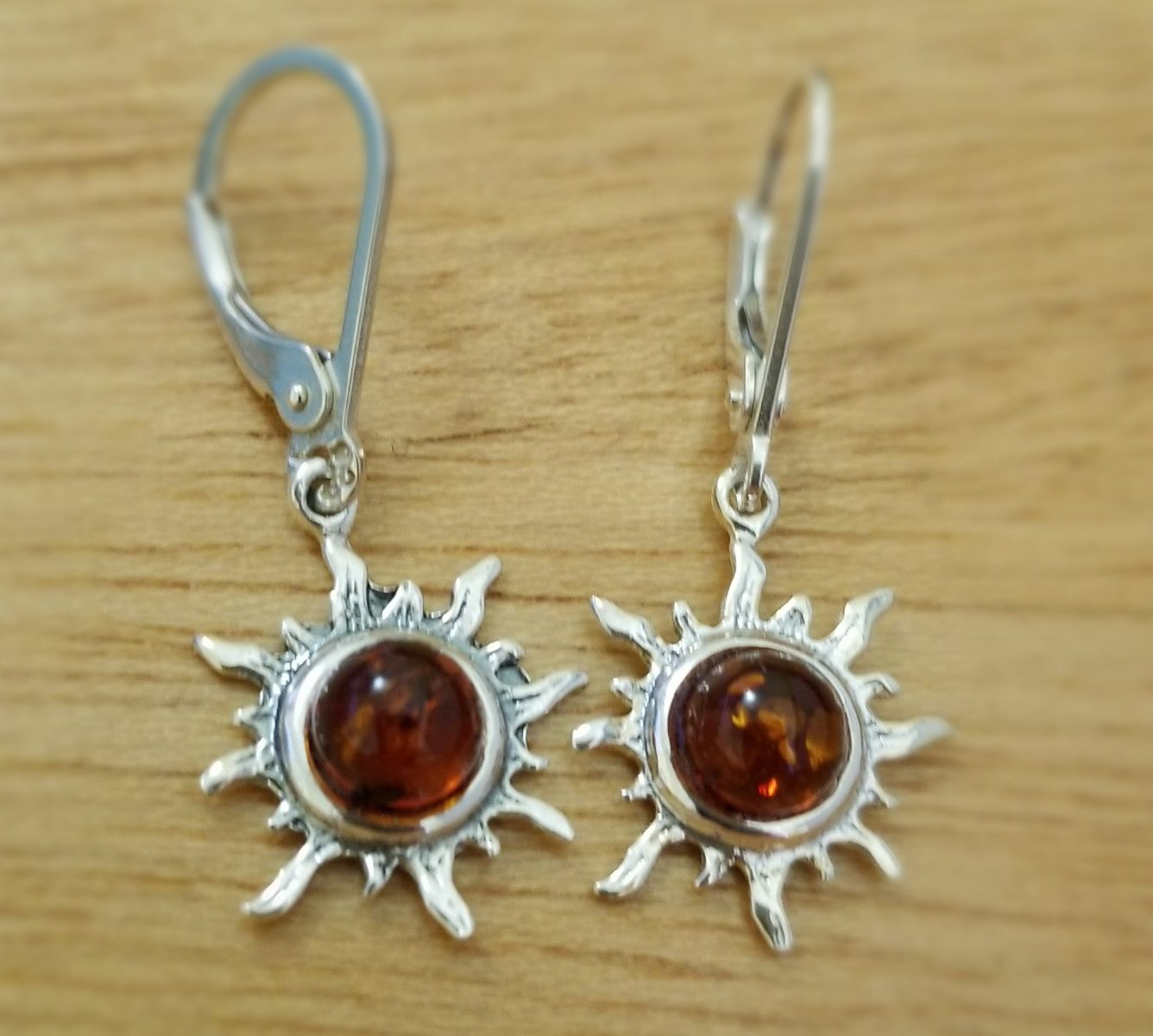 Baltic amber sterling silver sun dangle earrings