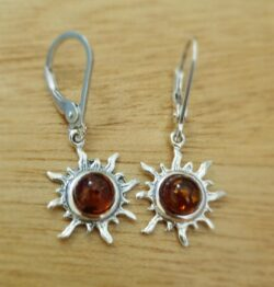 Baltic amber sterling silver sun dangle earrings