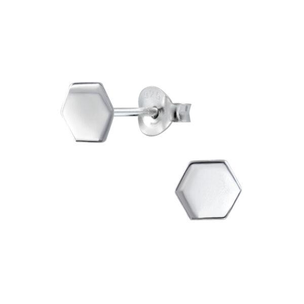hexagon sterling silver post earrings