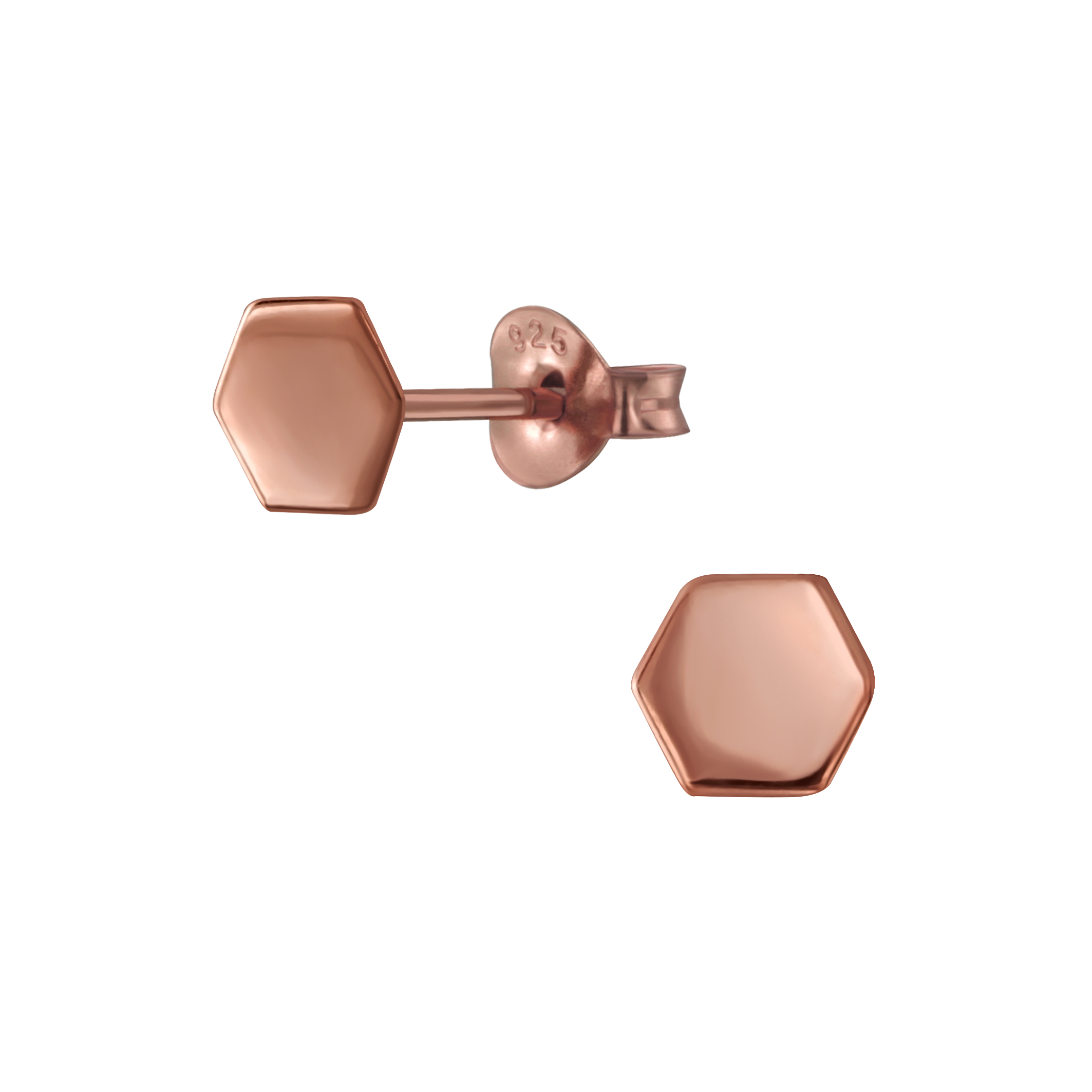 rose gold-plated sterling silver hexagon earrings