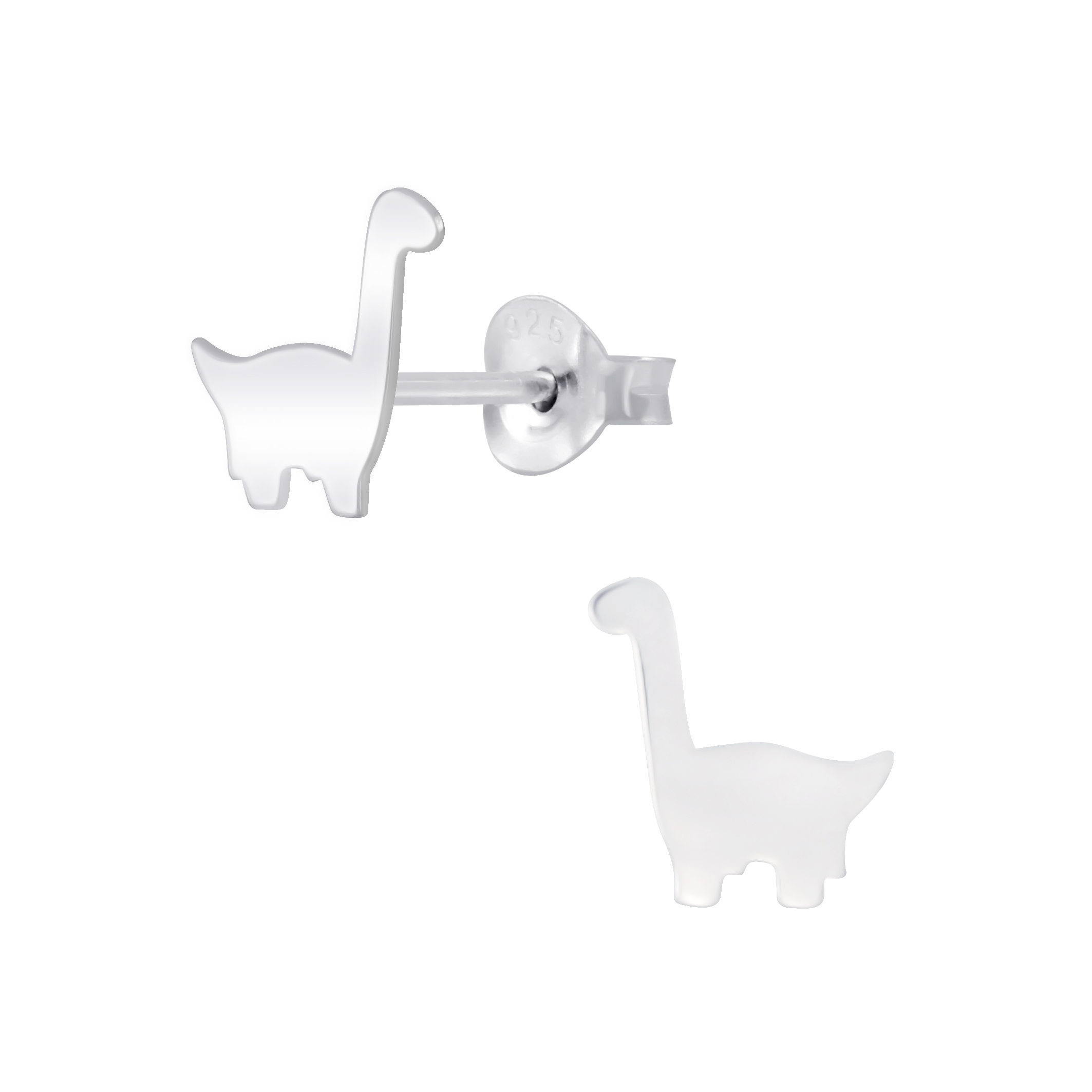 Brontosaurus dinosaur Sterling Silver Stud Earrings