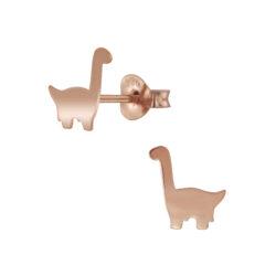 brontosaurus dinosaur rose gold-plated sterling silver stud earrings