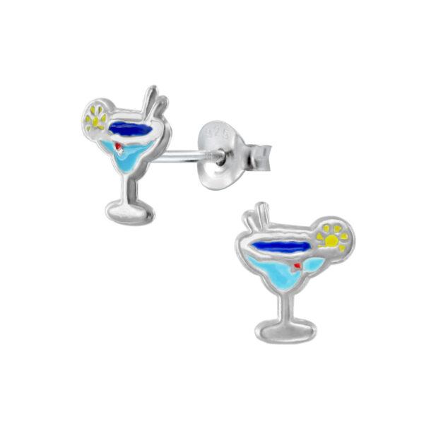 blue cocktail glass stud earrings