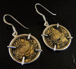 Vintage 20 paise coin from India and .925 sterling silver earrings