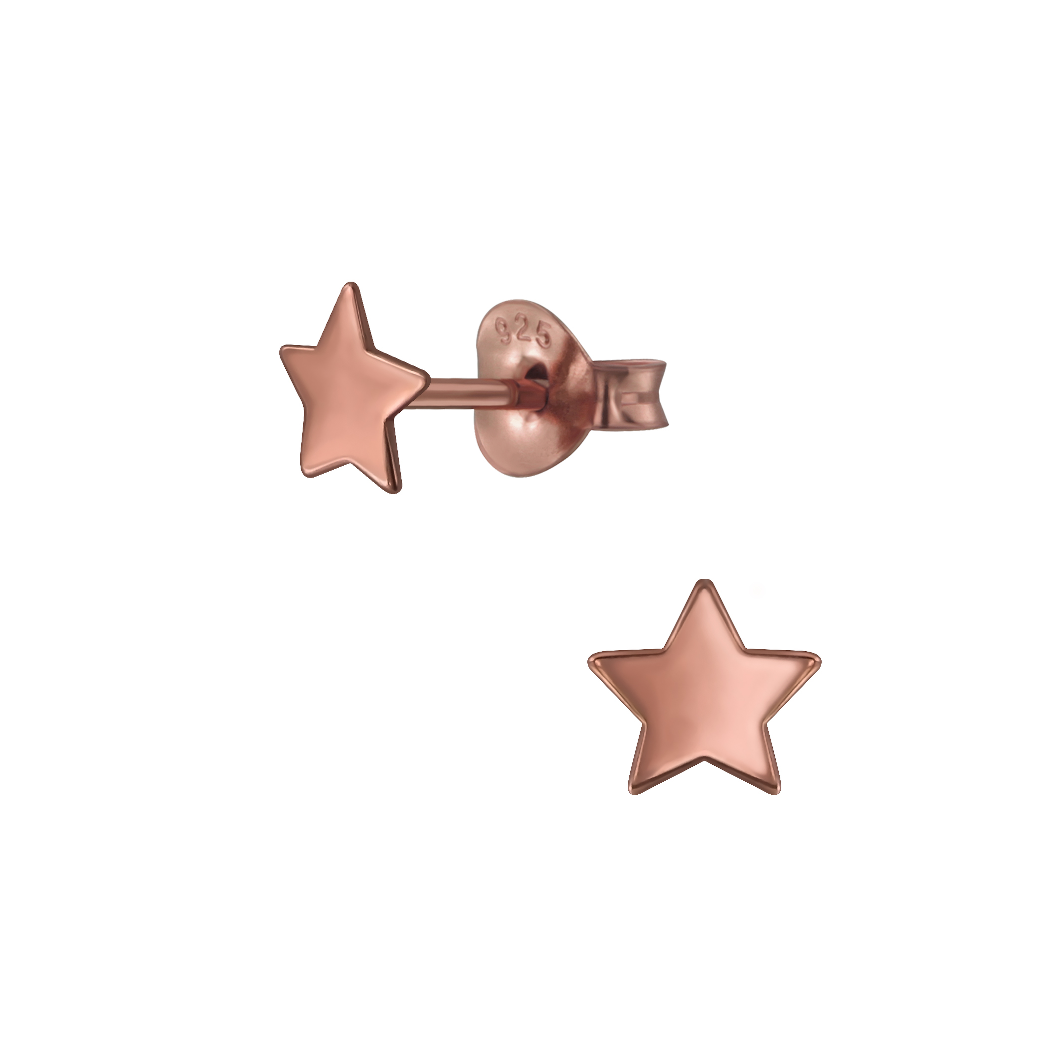 star rose gold-plated post earrings