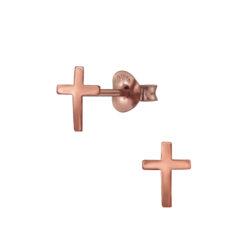 rose gold-plated sterling silver cross post earrings
