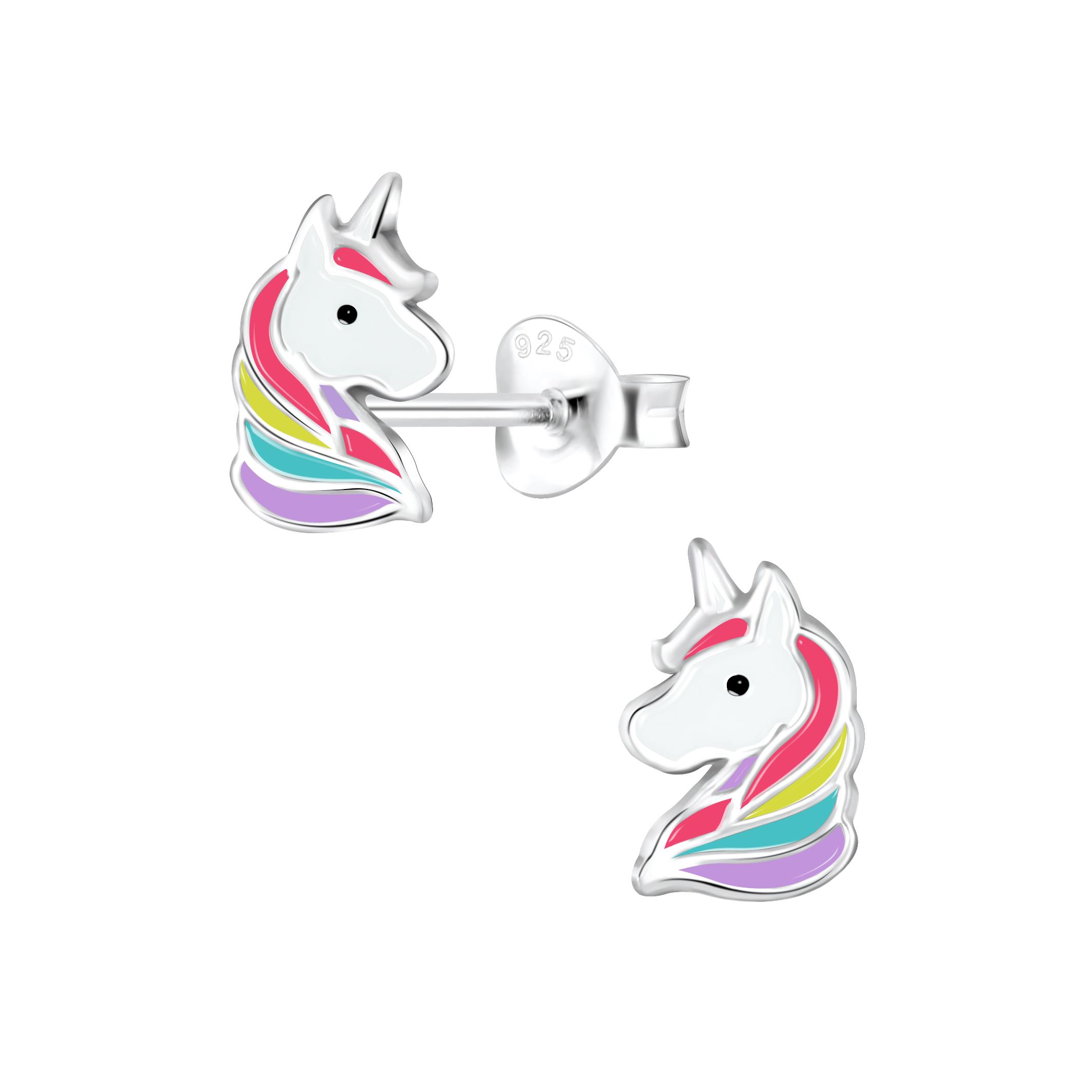 colorful unicorn post earrings