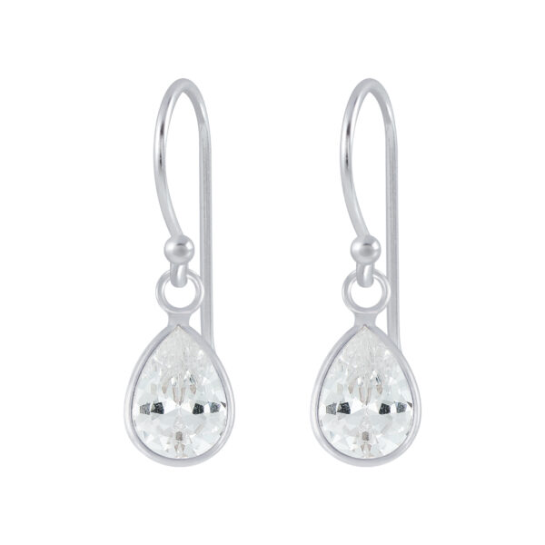 clear cubic zirconia and sterling silver drop earrings