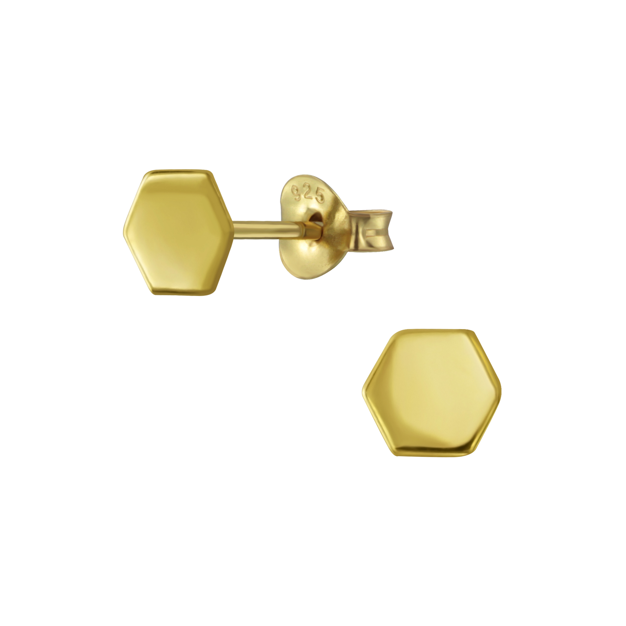 yellow gold-plated sterling silver hexagon post earrings