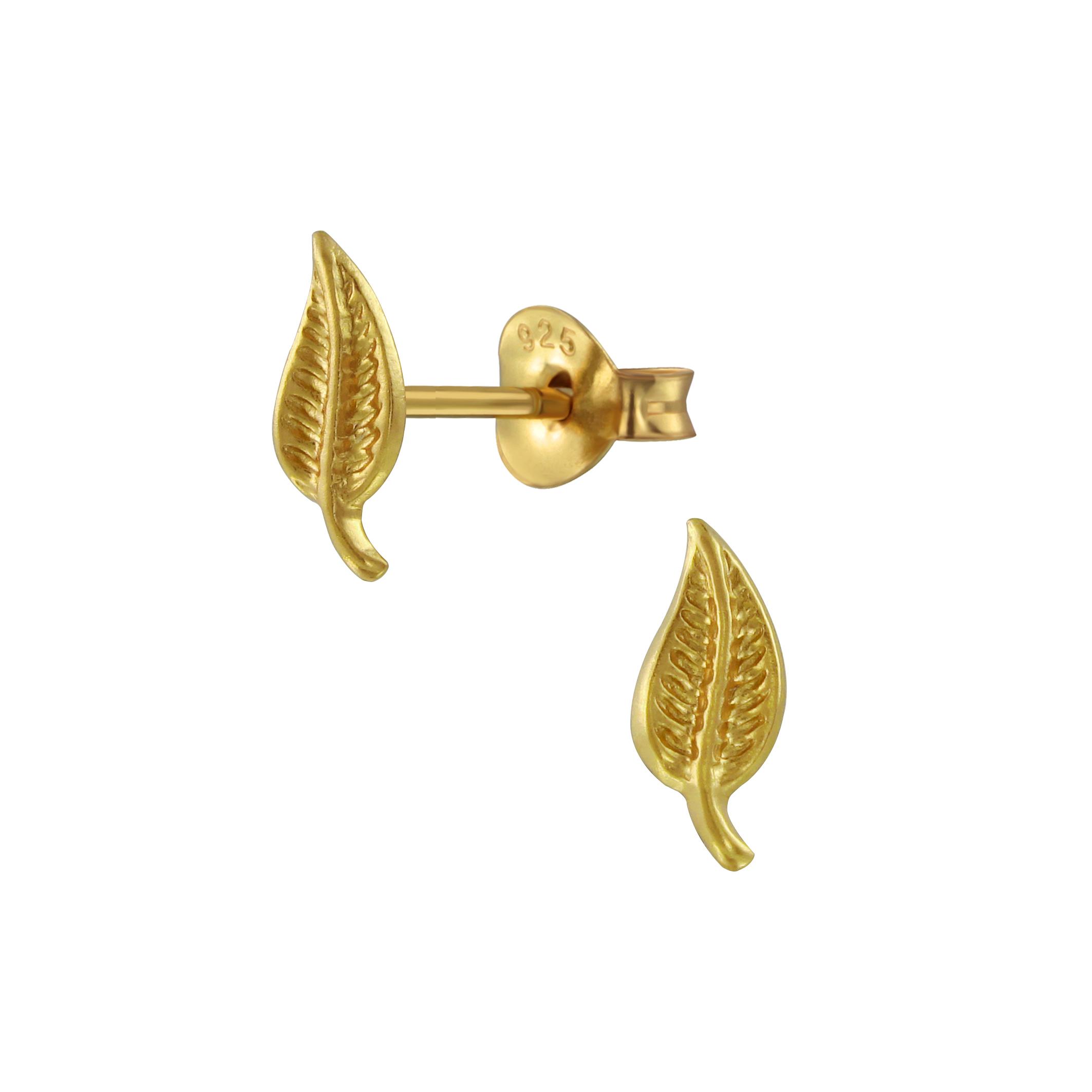 gold-plated nickel free sterling silver leaf post earrings
