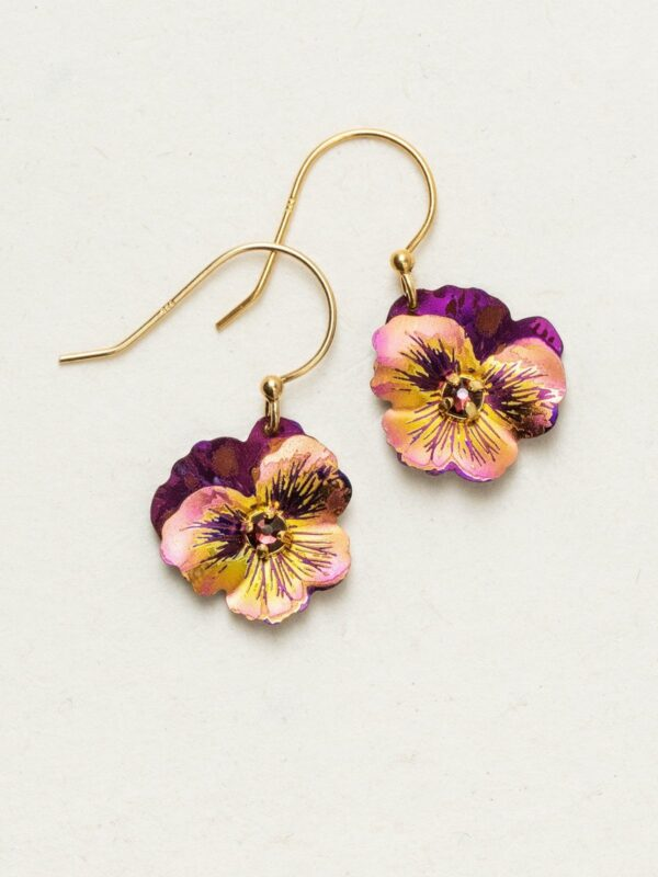 Garden Pansy Drop Earrings by Holly Yashi