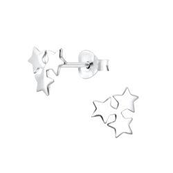 triple star sterling silver post earrings